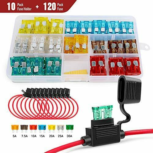 10Pack  Nilight inLine Fuse Holder with 120pcs Fuse 5A//7.5A//10A//15A//20A//25A//30A