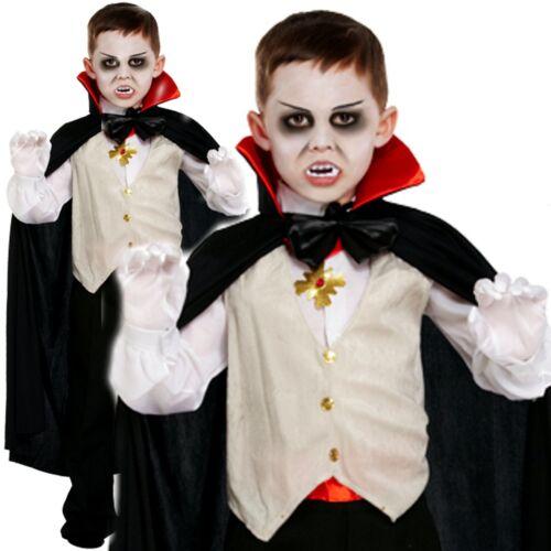 Garçons classique victorien vampire dracula halloween fancy dress costume kids 4-12