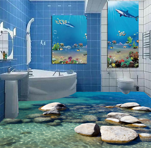 3D Summer Stone Sea 906 Floor Wall Paper Murals Wall Print AJ WALLPAPER UK Lemon