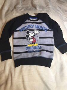DISNEY-BOYS-TOP-MICKEY-MOUSE-ORIGINAL-BLACK-Sweat-Shirt-Top-Size-3-Cotton