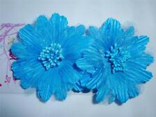 "NEW 2 Turquoise Aqua Blue Hair Flower Alligator Clip Barrette 3"" Inch Prom Dance"