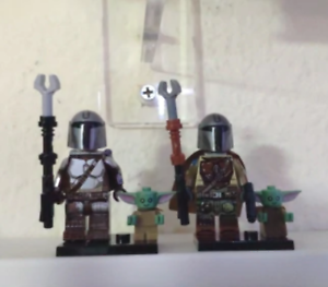 "2 Set The Mandalorian /""Mando/"" And Baby Yoda Star Wars Bounty Hunter Lego MOC"