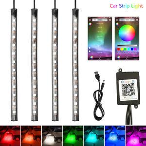 4x-48led-5050-Bluetooth-Controle-RGB-LED-Bande-Lumiere-USB-Voiture-Bateau-BA
