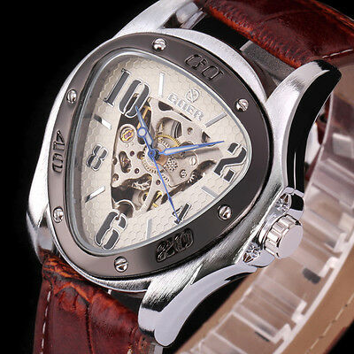 Fashion Men's Leather Triangle Skeleton Sport Automatic Mechanical Wrist Watch