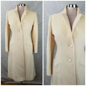 Vintage-Forstmann-Mohair-Wool-Coat-Size-Small-Medium-Long-Duster-winter-Ivory