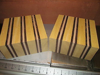 TWO EXOTIC YELLOWHEART, WALNUT, MAPLE LAMINATED BOWL BLANKS LUMBER 6 X 6 X 3""