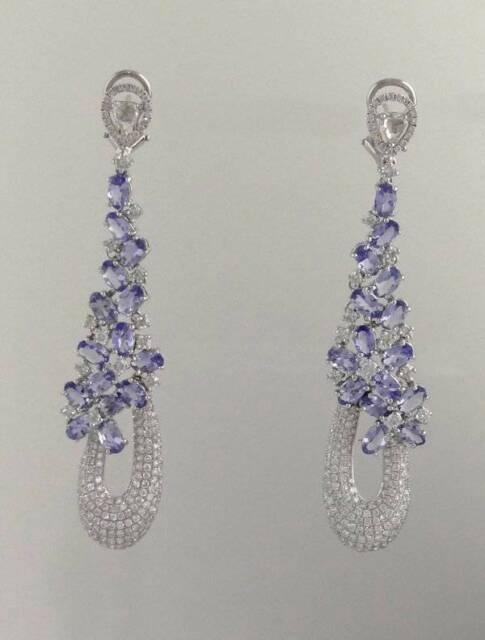 8K 14K WHITE GOLD DROP DANGLE DIAMOND TANZANITE DRESSY FANCY WEDDING EARRINGS