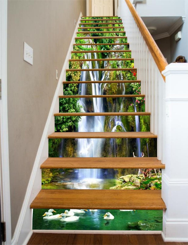 3d canard Lac 757 Stair Risers Décoration Papier Peint Vinyle Autocollant Papier Peint De