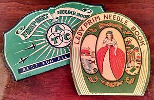 Vintage Antique Needle Books Lot if 2 LADY PRIM & ATC FINE POINT Sewing Needles