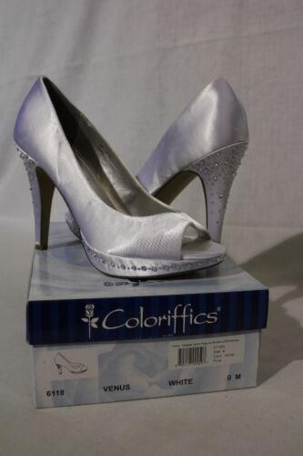 COLORIFFICS White Dyeable Satin Peep Toe Platforms