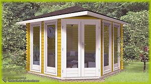 5-Eck Gartenhaus Blockhaus aus Holz, 3x3M 5-Eckige Holzhaus, 40mm ...
