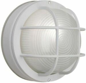 Hampton Bay 1 Light White Outdoor Round Wall Bulkhead Weather Resistant