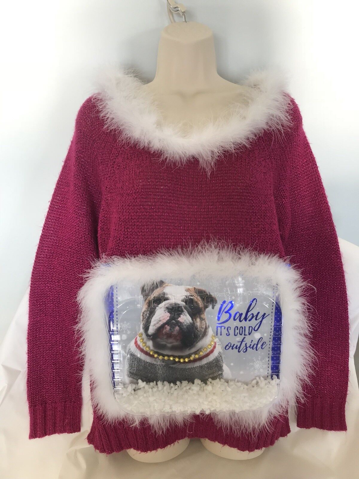 Ugly Christmas Sweater Baby it's cold outside Bulldog Handmade Pink Sweater SZ L