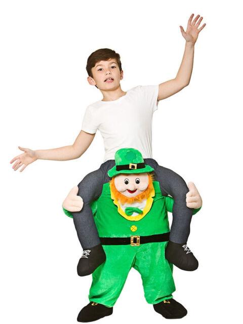 Child Funny Carry Me Leprechaun St Patricks Day Irish Fancy Dress Mascot Costume  sc 1 st  eBay & Carry Me Leprechaun Boys Girls Fancy Dress Kids Costume Irish St ...
