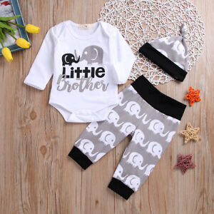 Newborn-Baby-Boy-Little-Brother-Clothes-Romper-Tops-Long-Pants-Hat-Outfit-Set-UK