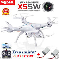 Syma X5SW 360° 3D Real-time RC Drone Quadcopter 2MP Wifi FPV Camera + 2 Battery