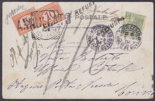 1904 Postage Due Postcard Monaco to Italy