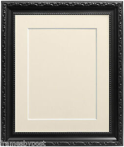 1e709f075e2 Black Shabby Chic Photo Picture Frames with Mount Backing Board ...