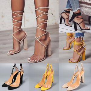 2018-Women-Ladies-Block-High-Heels-Sandals-Open-Toe-Lace-Up-Party-Strappy-Shoes