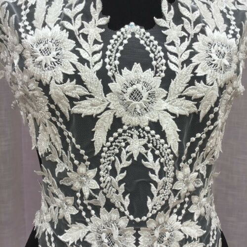 Off White Bridal Embroidery Applique Wedding Dress Motif Large Beaded Trim 1 PC