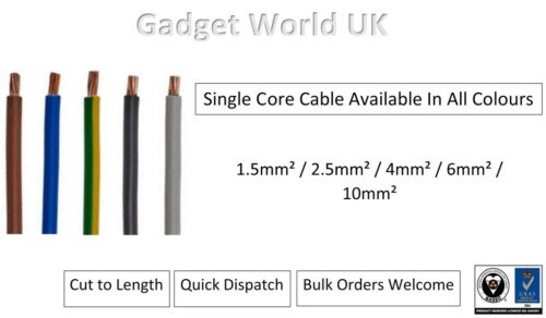 Single Core Cable Brown 6491X Electrical Wire Conduit  Single 1.5//2.5//4//6//10mm