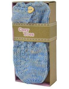 COSY-TOES-BLUE-AND-GREY-LADIES-KNITTED-ANKLE-SLIPPER-SOCKS-SIZE-4-7-NEW-ADULTS