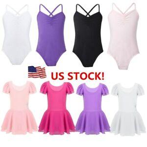 US-Kids-Girls-Ballet-Gymnastics-Leotard-Dance-Dress-Tutu-Skirt-Dancewear-Costume