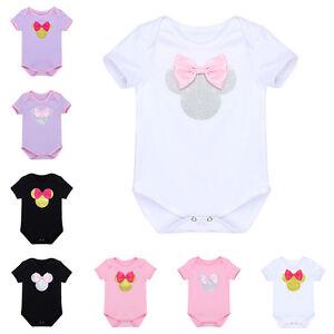69cfbee426c Baby Boys Girls Minnie Mouse Romper Jumpsuit 1st Birthday Bodysuit ...