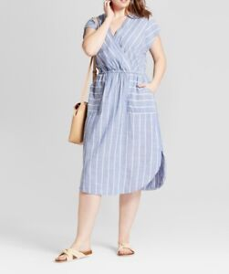 Women's Plus Size Tie Back Dress - Universal Thread™ Blue X / 2X