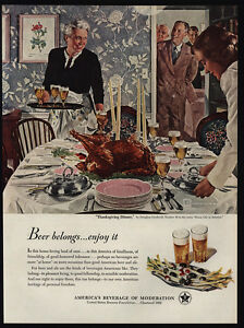 Image Is Loading 1950 THANKSGIVING Dinner Art By DOUGLAS CROCKWELL Beer