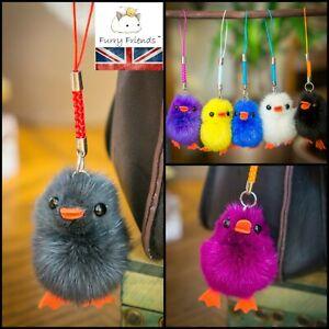 Chick-Pajaro-KEYRING-5cm-Piel-Pompon-encanto-Llavero-Clave-Piel-Lindo-Juguete-Ave-Pato-Bolsa