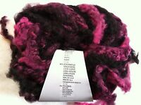 Lang Yarns Sasha 65 Fuchsia Black Long Fringed Superchunky Wool Bl Yarn 100gr