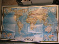 WORLD WALL MAP + EARTH AT NIGHT National Geographic November 2004 MINT