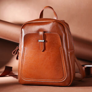 Fashion 2019 Natural 100% Real Genuine Cow Leather Women Backpack ... 2e70a46fdb