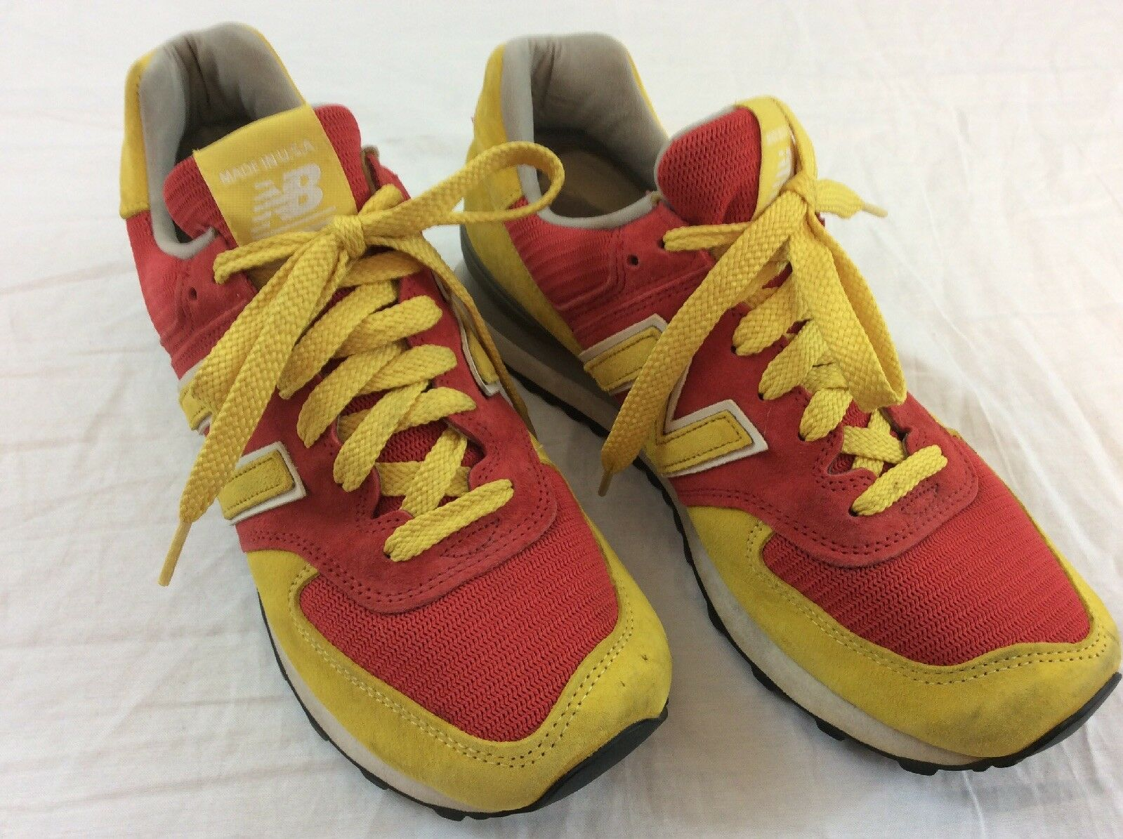 New Balance NB Mens Size 8.5 US 574 Series Yellow And Red Running shoes 2013