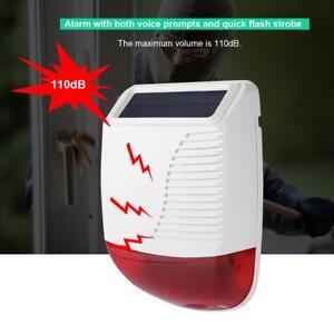 Wireless-Wasserfest-Solar-Sirene-Sound-Licht-Alarmanlage-Funk-Aussensirene-433MHz