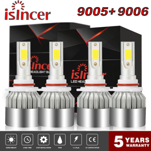9005 9006 3900W 410000LM Combo LED Headlight Hi-Low Beam Fog Bulbs 6000K White