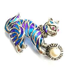 ART NOUVEAU PLIQUE A JOUR CAT BROOCH MARCASITE PEARL RUBY STELRING SILVER 925