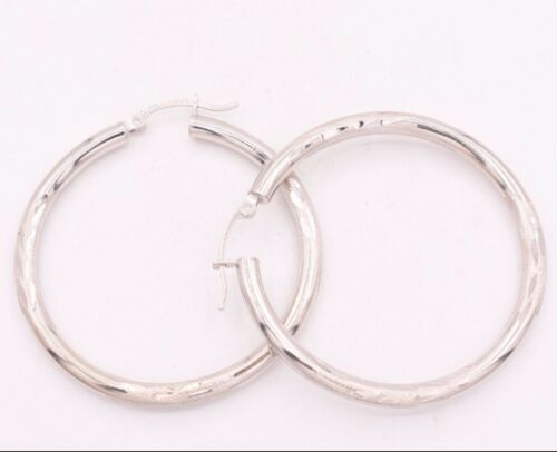 """3mm X 40mm 1 1//2/"""" Large Diamond Cut Round Hoop Earrings REAL 14K White Gold"""