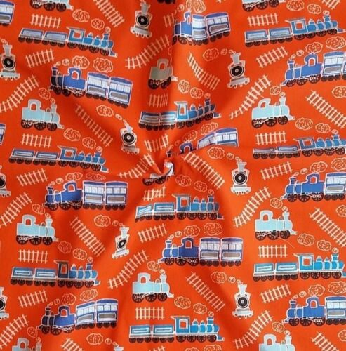 TRAINS ENGINES SEWING FABRIC MATERIAL RED WHITE /& BLUE OFF THE ROLL POLY COTTON