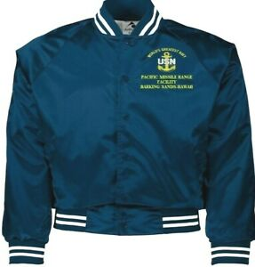 PACIFIC MISSILE RANGE FACILITY HAWAII NAVY EMBROIDERED 2-SIDED SATIN JACKET