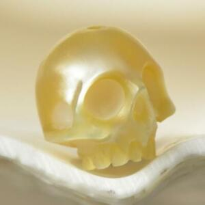 Human-Skull-Bead-Gold-South-Sea-Keshi-Pearl-Indonesia-0-93-g-Hand-Carved-drilled