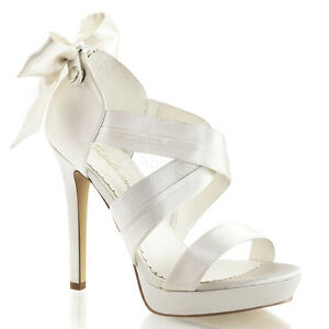 c87460341 PLEASER Sexy High Heels Ivory Satin Criss Cross Bridal Wedding Shoes ...
