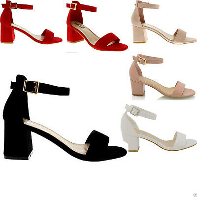 WOMENS LOW MID HEEL BLOCK PEEP TOE LADIES ANKLE STRAP PARTY STRAPPY SANDALS 3-8