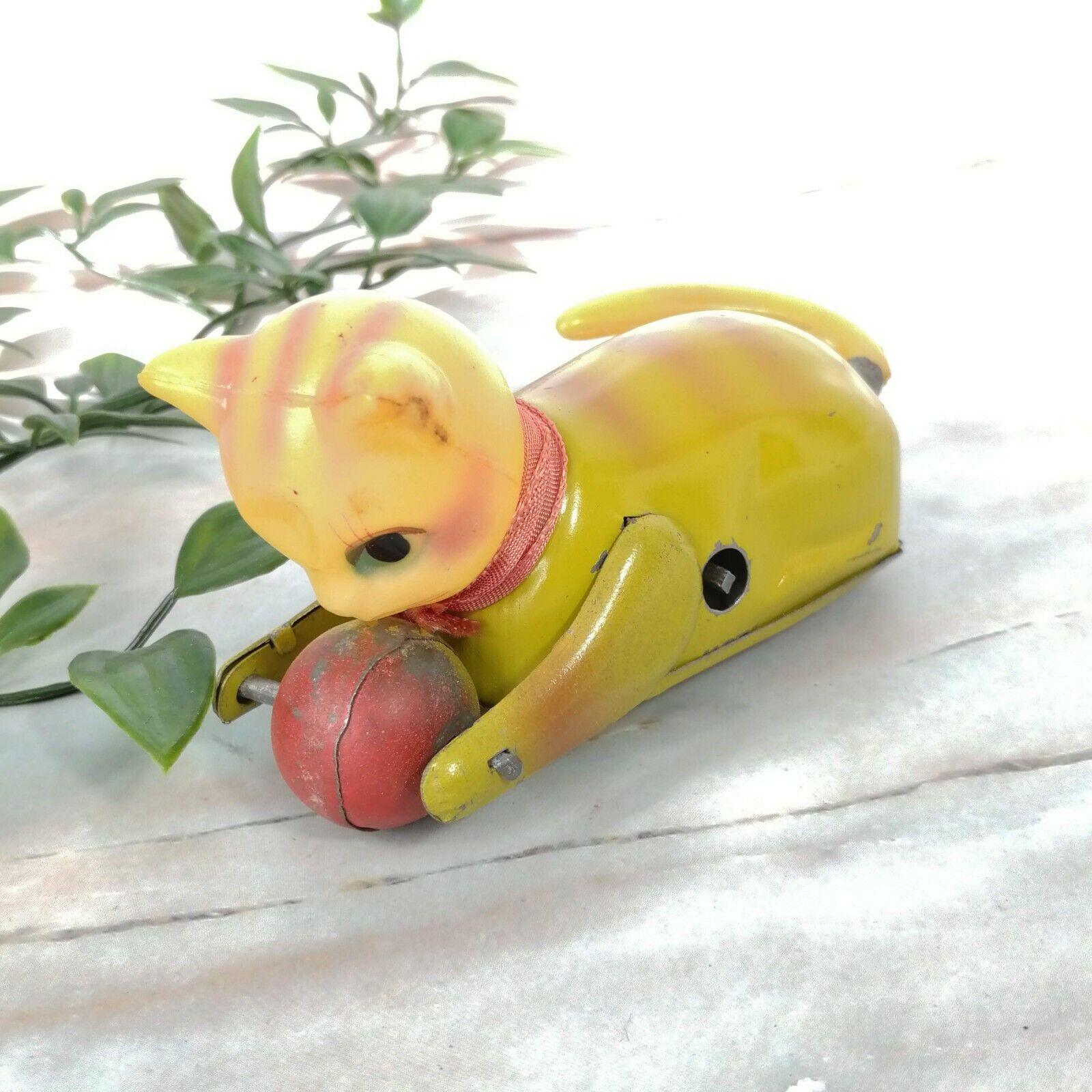 Vintage 579ms Gelb Gestreiftes Katze W  Ball Blech Aufziehen Spielzeug 12.7cm (