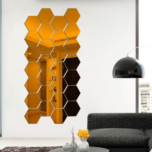Wall DIY Home 12Pcs Stickers Hexagon Removable 3D Decal Art Decor Plastic Mirror