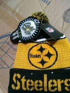 be547342184 Pittsburgh Steelers NFL LED Light Up Hat Winter Pom Beanie Knit Cap ...