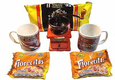 2 Mugs and more Puerto Rico Rican Coffe Lovers Gift Set 2# Cafe Yaucono Grinder