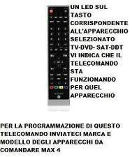 TELECOMANDO 4 IN 1 COMPATIBILE TV DVD SAT DTT MY SKY INVIATECI MARCA E MODELLO
