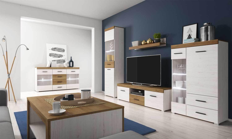Vitrina de mobiliario TV de Sala unidad de TV mobiliario Soporte Estante luces Led de Efecto Madera 33bddd